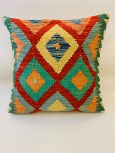 Yellow Multi Coloured Antique Cushion Cover of Real Afghan Handmade Wool Kilim