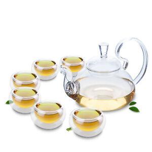 Novelty Heat-proof Clear Glass Teapot & 6PC Mini Double Wall Glass Teacups