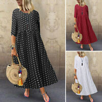 ZANZEA Women Vintage Retro Print Polka Dot Dress Abaya Kaftan Long Maxi Sundress