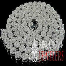 ICED OUT REAL LAB DIAMOND 14K WHITE GOLD FINISH CLUSTER FLOWER NECKLACE CHAIN