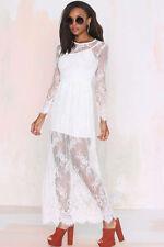 Maxi Abito lungo ricamato pizzo Trasparente Cerimonia Party Lace Evening Dress