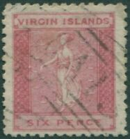 British Virgin Islands 1866 SG7 6d red St Ursula FU