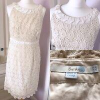 Boden Cream Cotton Lace Overlay Classic Shift Dress UK 12 Wedding Summer Formal
