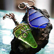 Uranium Glass & Sea Glass Copper Wrapped - Hand Crafted - Key Rings - Bag Charms