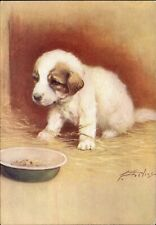 Pyrenean Mountain Dog~De Reszke Cigarette advertising postcard~artist Aveline