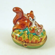 New French Limoges Trinket Box Squirrel w Acorns & Nuts on Amazing Fall Leaves