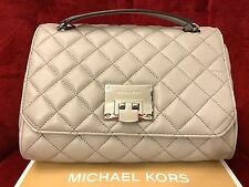NWT MICHAEL KORS QUILTED LEATHER VIVIANNE SHOULDER FLAP BAG IN PEARL GREY/SILVER