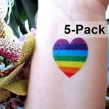 Rainbow Heart Tattoo for Summer LGBT Temporary Tattoos Gay Pride 5 Pack Small