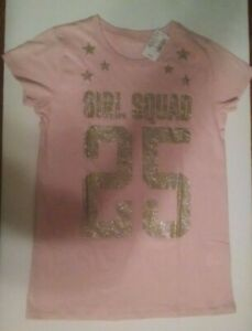 "NEW The Children's Place Girls T Shirt Sz 10-12 ""Girl Squad"" Pink/Gold Glitter"
