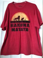 Mens Disney Lion King Hakuna Matata Red T Shirt Size 2X