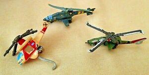 HELICOPTER LOT 3 PC MINIATURE DIE CAST PLASTIC AS IS PARTS RESTORATION RESCUE.