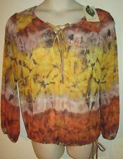 NURTURE Sheer TOP M Romantic NEW Fall Colors Shirt MEDIUM NWT $59 Earthtones
