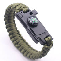 Outdoor Survival Camping Emergency Gear Paracord Knife Compass Bracelet Watch