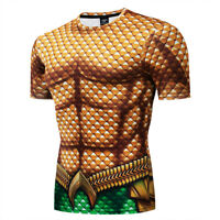 Marvel Mens T Shirts Compression Superhero Gym Sport Fitness Jersey Tops Tee