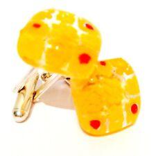 Yellow Square Murano Glass Millefiori Flower & Silver Cufflinks.