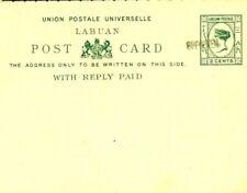 LABUAN Postal Stationery 3c + 3c *Specimen* UPU Reply Card Unused 1894W315
