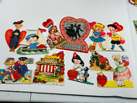 Antique vtg Valentines 34 Lot (10) Diecut 30s 40s Fireman whitney gibson cards