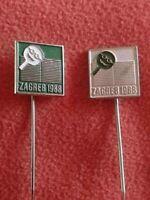 TABLE TENNIS  World Veterans Championship, Zagreb 1988 - two pin badges