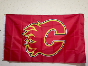 Calgary Flames Logo Flag 3X5 FT NHL Banner Polyester Fast Shipping!!!
