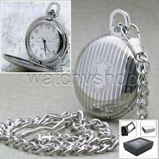 Silver Plated Antique Style Mens Quartz Pocket Watch with Gifts on Chain P91