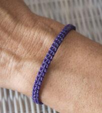 Bracelet brésilien amitié fil de coton ciré tresse porte bonheur Violet 21151