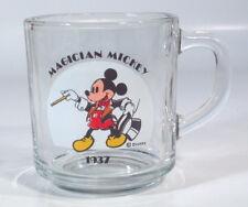 "Vintage Disney Magician Mickey Glass 3.5"" Cup Coffee Mug Anchor Hocking"