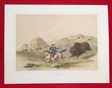 Buffalo Hunt,Chasing Back,George Catlin,Original Lithograph,Limited Edition 1970