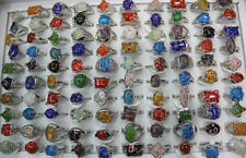 Newest Job Lots 10pcs Multicolor Glass silver plated Pretty Women's ring Jewelry