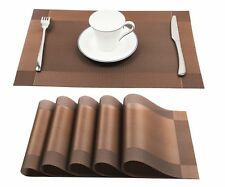 Vinyl Brown Place Mat Heat Resistant Dining Table Non Slip Washable Set of 6