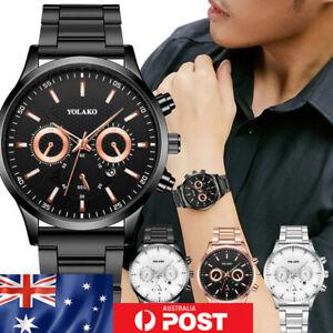 Men's Chrono Style Watch Luxury Stainless Steel Black Silver Business Quartz #32