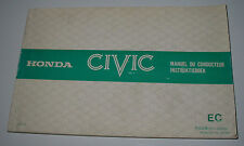 Manual Du Conducteur Honda Civic Instruktieboek Betriebsanleitung Stand 1980!