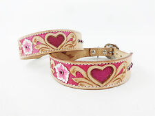 "24"" WESTERN STYLE PINK HEART BLING NATURAL TOOLED LEATHER CANINE DOG COLLAR"
