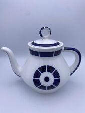 Sargadelos Spanish Spain Porcelain Teapot Coroa - White Blue - Midcentury Style