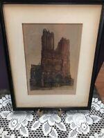Vintage Paul Mansard ~ Cathédrale Notre-Dame de Reims.1912-Hand Signed & Colored