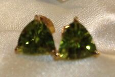 2.5 Ct, AA, Peridot Stud Earrings, Trillion, 14K Gold Overlay Sterling Silver
