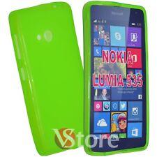 Cover Custodia Per Nokia Lumia 535 Verde Silicone Gel TPU Retro Opaco Gel TPU