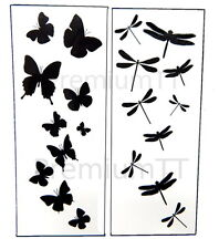 Dragonfly & Butterfly Black Silhouette Tattoo Tattoos - 6 sheets