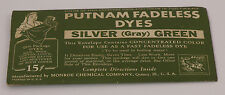 Vintage Early 1900s Putnam Fabric Millinery Silver (Gray) Green Dye NOS REDUCED