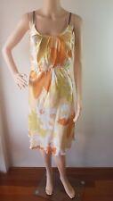 KATHERINE Ladies Orange Yellow Silk Lined Knee Length Dress Size: 10 EUC
