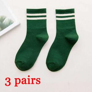 3Pairs Women Cotton Striped Socks Soft Warm Winter Sports Skateboard Hosiery New