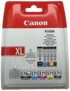 Canon Multipack Ink Cartridges PGI-570XLBK CLI-571 CLI-571C CLI-571M CLI-571Y UK