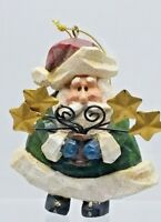 Vintage Carved SANTA with Gold Stars Christmas Ornament Hand Painted