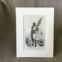 1890 Antique Print Malay Tribal Chief Malaysian Tribes Victorian Art Original
