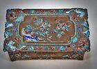 Antique Chinese Export Bronze Repousse Cloisonne Cigarette Case Trinket Box
