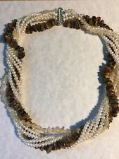 "19"" Genuine Pearl Tiger's Eye Quartz Torsade"