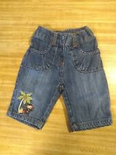 Gymboree Baby Girls Size 12-18 Mth Elastic Waist 100% Cotton Monkey Denim Jeans