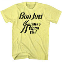 Mens Licensed Bon Jovi T-Shirt SLIPPERY WHEN WET YELLOW HEATHER Sizes SM - 2XL