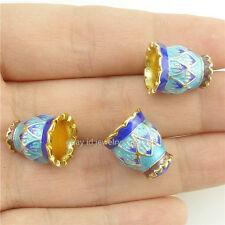 16243*2 Enamel Cloisonne Flower Lotus Flower 14mm Spacer Beads Tassel End Copper
