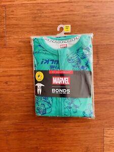 Bonds Baby Marvel The Hulk Green Blue Long Sleeve Wondersuit Size 2 BNIP