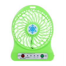 Portable Rechargeable LED Light Fan Air Cooler Mini Desk USB 18650 Battery Fan